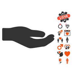 Share hand icon with dating bonus vector