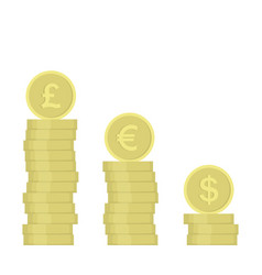 stack golden coin coins with images vector image