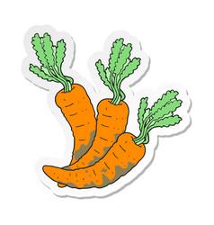 Sticker of a cartoon carrots vector