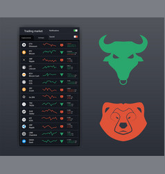 Stock icons bull and bear vector