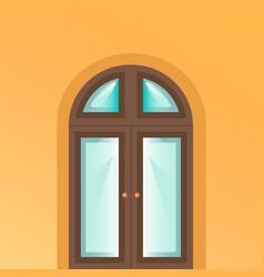 the door is on yellow background vector image
