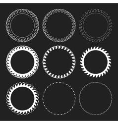 Tire Track Round Border Frame Set Overlay vector image