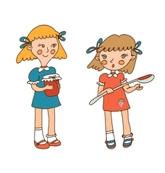 two little girls and jam vector image