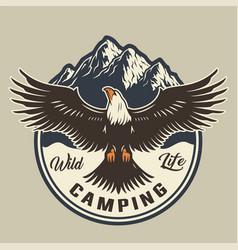 vintage summer adventure colorful emblem vector image