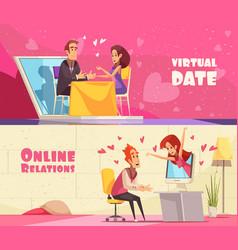 Virtual date horizontal banners vector