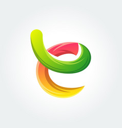 Vivid abstract letter e template vector