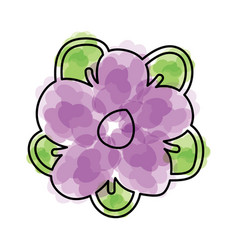 Watercolor flower cartoon vector