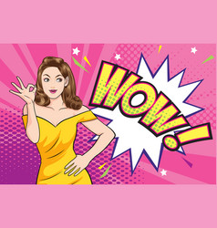 Woman okay gesture action with wow comic bubble vector