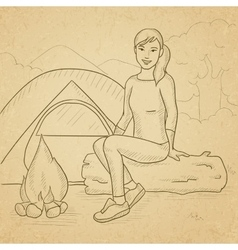 Woman sitting at camp vector image