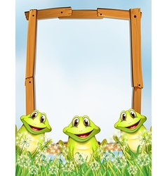 Wooden frame with frogs background vector