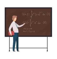 Young math man teacher standing at blackboard vector