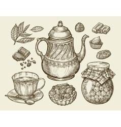Food tea dessert Hand drawn vintage teapot vector image vector image