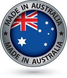 Made in Australia silver label with flag vector image vector image