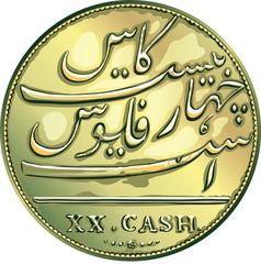 Money gold coin twenty Madras caches vector image vector image