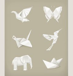 Origami set white vector image vector image