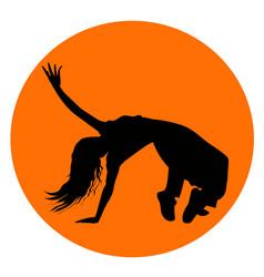 silhouette of girl performing break-dance vector image