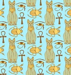 Sketch Egyptian cat bug Osiris eye in vintage vector image