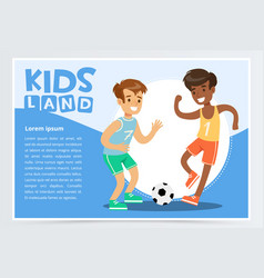 smiling active boy playing soccer kids land vector image vector image