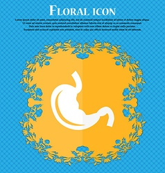 Stomach icon Floral flat design on a blue abstract vector image vector image