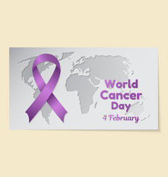 World cancer day theme postcard or banner with a vector