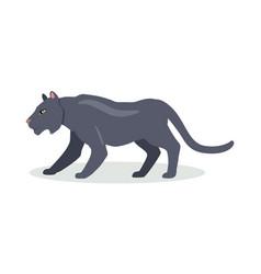 black jaguar cartoon icon in flat design vector image