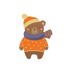 Brown Bear In Polka-dotted Sweater Childish vector image vector image