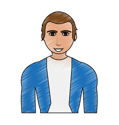 color pencil cartoon half body guy with atlethic vector image vector image