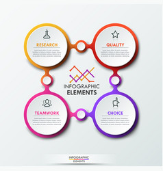 Infographic design template with 4 connected vector