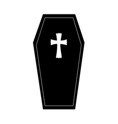 monochrome graphic halloween with coffin vector image vector image