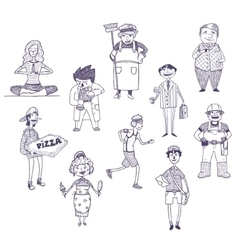 Professions drawings set vector image