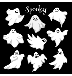 Scary white ghosts design on black background - vector image vector image