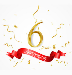 anniversary background with ribbon and confetti vector image