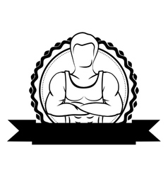Black sticker border with muscle man crossed arms vector