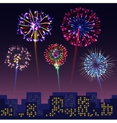 Bright festive fireworks with modern city vector image vector image
