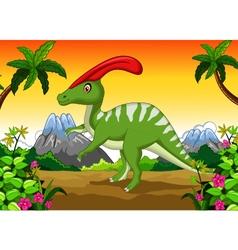 Dinosaur Parasaurolophus cartoon in the jungle vector image vector image
