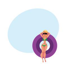 girl woman in bikini and sunglasses floating on vector image