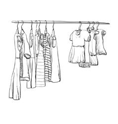 Hand drawn wardrobe sketch for baby girl vector