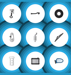 flat icon parts set of input technology cambelt vector image