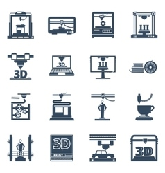 3D Printing Black Contour Icons Collection vector