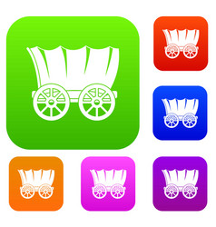 Ancient western covered wagon set color collection vector