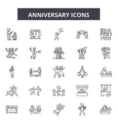 anniversary line icons signs set outline vector image