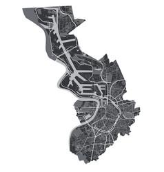 Antwerp map detailed black map of city vector