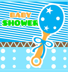 baby shower card with a shaker toy vector image