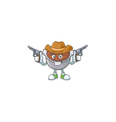 Baked beans in bowl with cowboy mascot vector