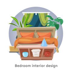 bedroom interior or hotel room cartoon vector image