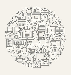 Blogging line icons circle vector