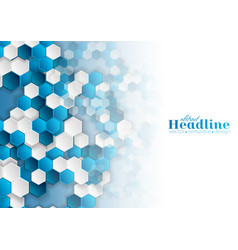 Bright blue and white hexagons abstract background vector