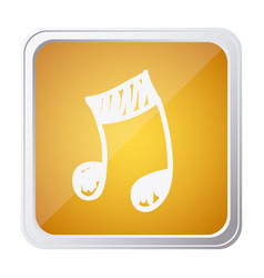Button of musical note with background yellow and vector