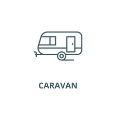 caravan line icon caravan outline sign vector image