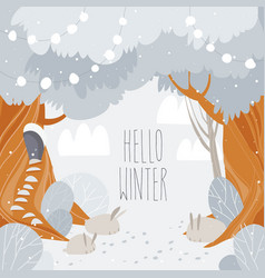 cartoon winter forest with big trees and cute vector image